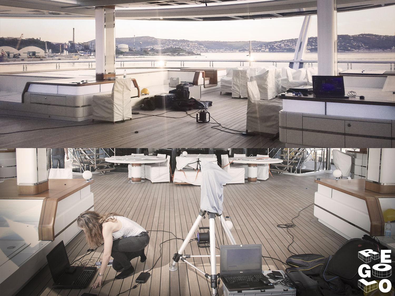 Scansione ambientale di una nave da crociera presso il porto di genova