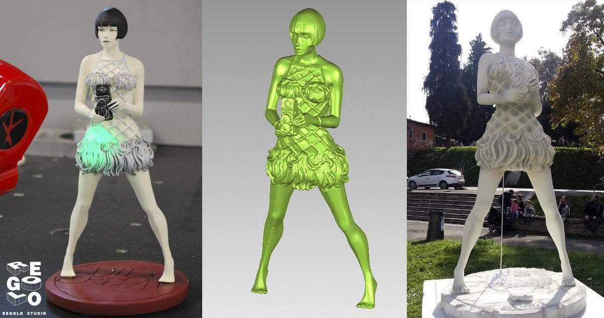 Scansione modellino, modello 3D ricostrutio e statua fresata con CNC