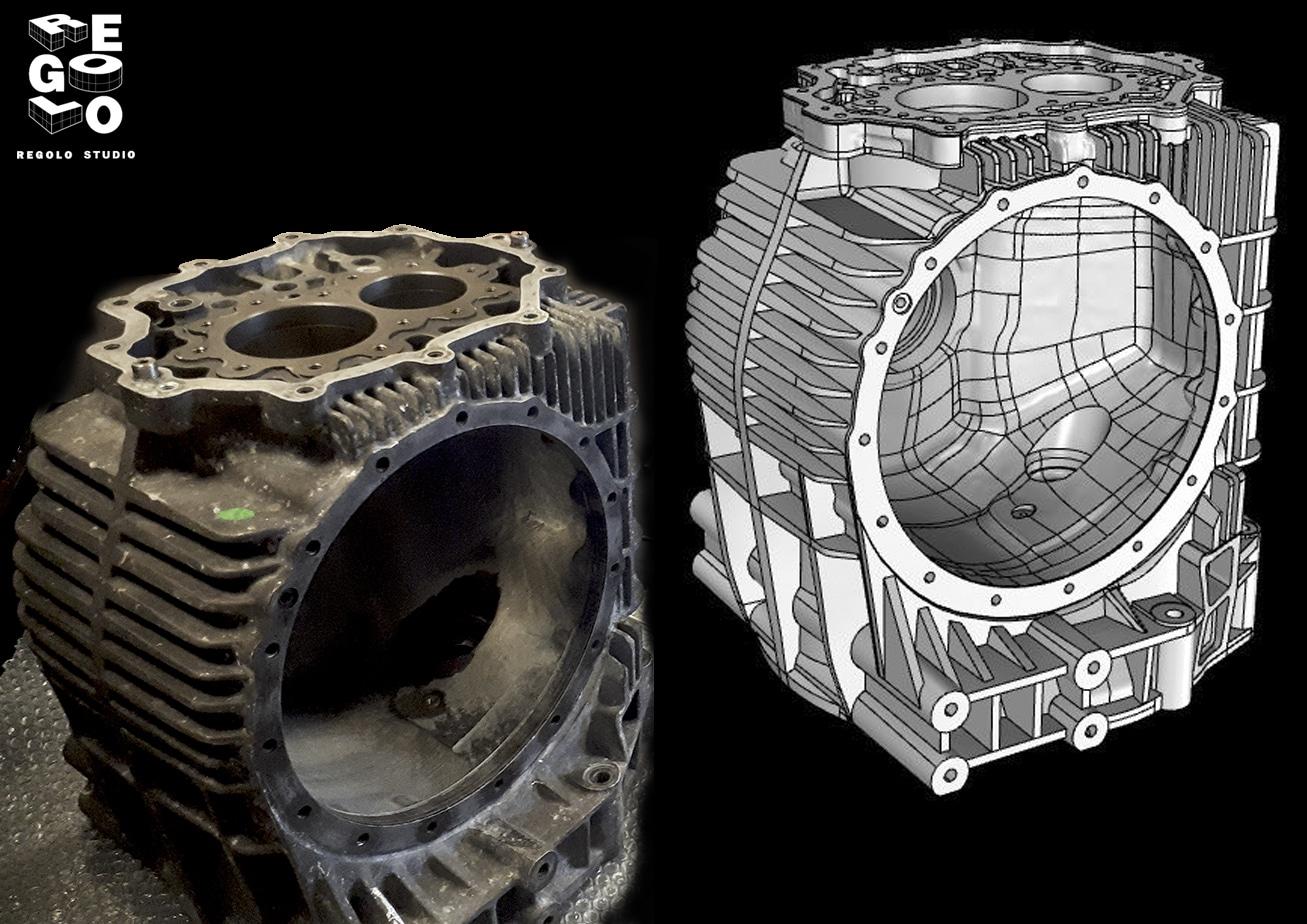 Ricostruzione modello 3D scatola del cambio auto storica