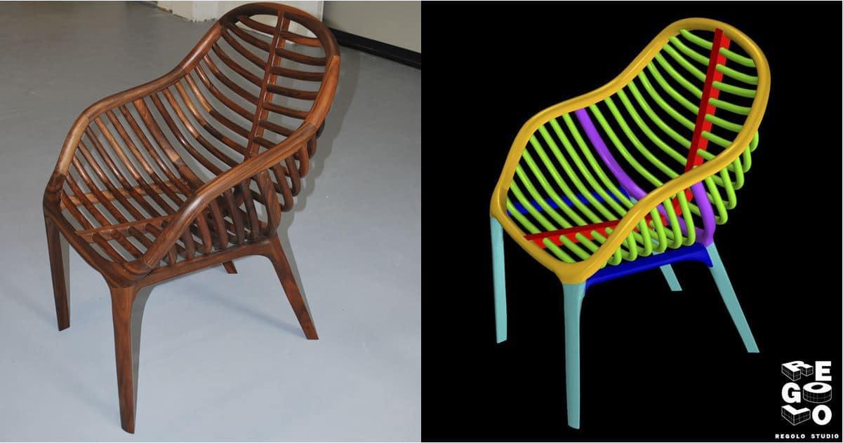 sedia artigianale in mogano con il suo modello 3D pronto per le lavorazione CNC