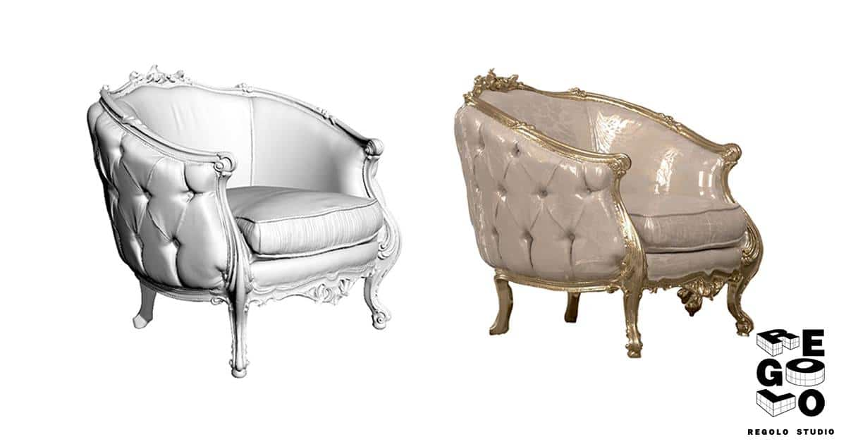 Modello 3D di una sedia renderizzato con materiali personalizzati