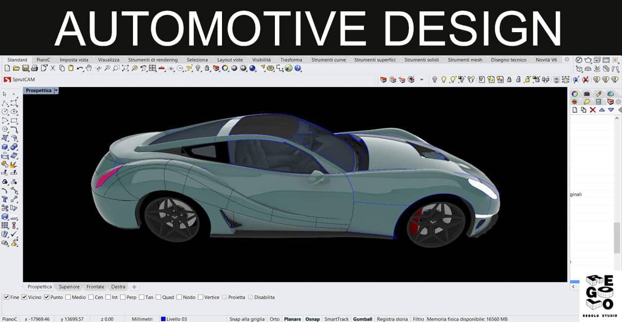design automotive generato con Rhinoceros 6