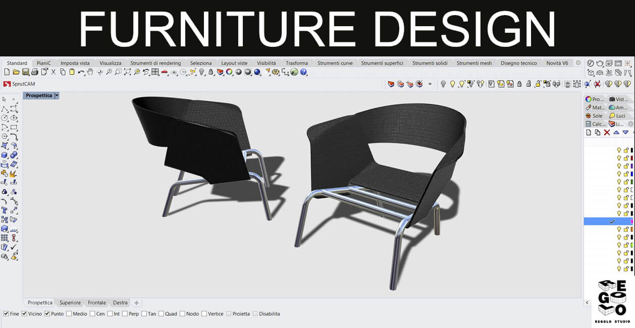 Design sedie per arredo generate con Rhinoceros 6