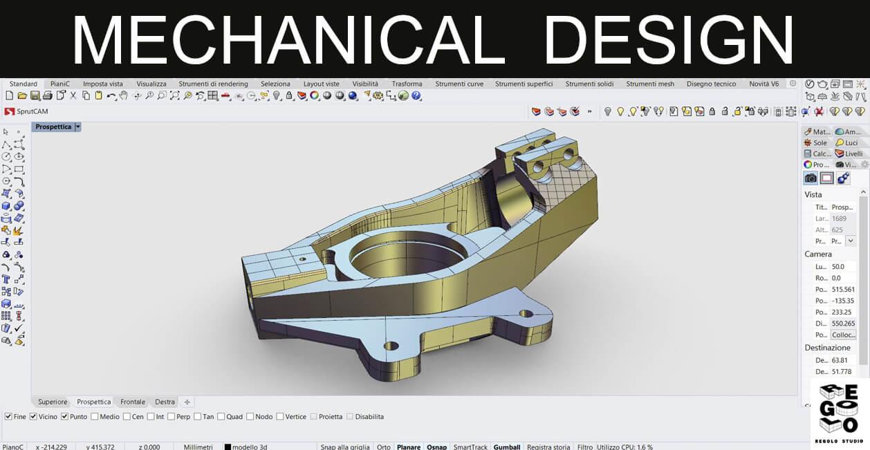 Design di un pezzo meccanico generato con Rhinoceros 6